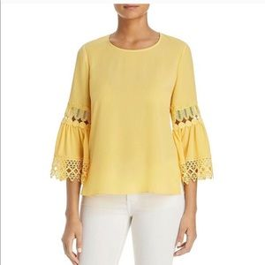 Le Gali Camden Blouse Yellow Crochet Bell Sleeve S
